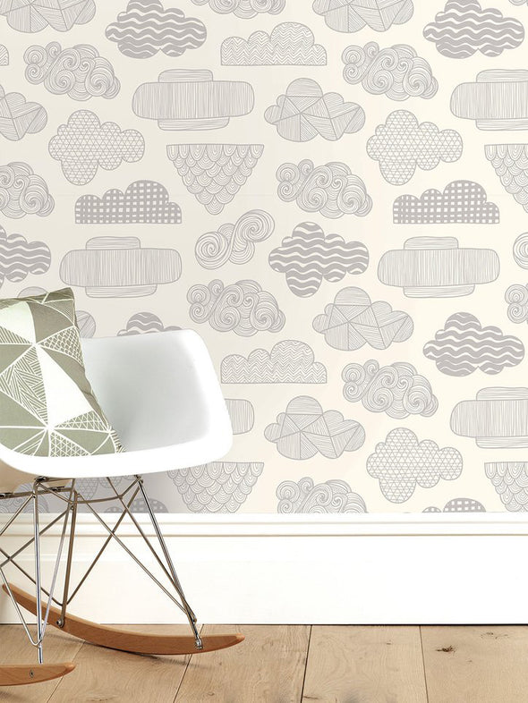 Clouds Wallpaper – Cream Warm Grey