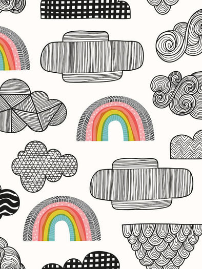 Clouds + Rainbows Fabric