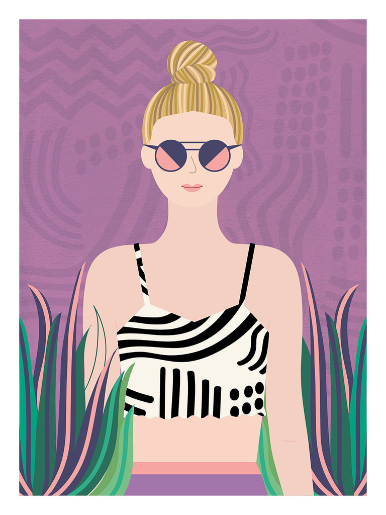 Hipster Girl Art Print in Pink & Green