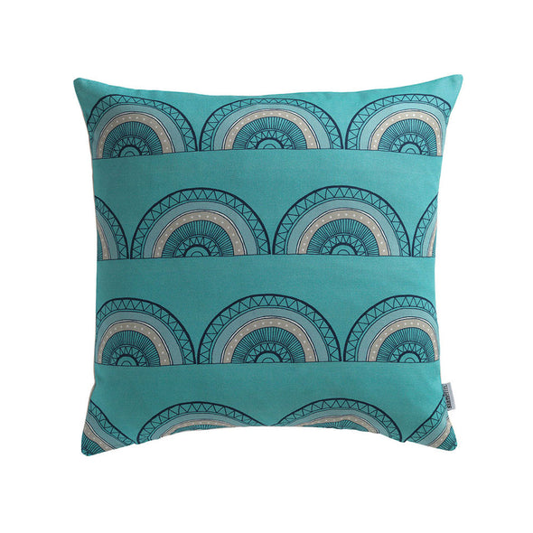 Horseshoe Arch Scallop Cushion in Turquoise