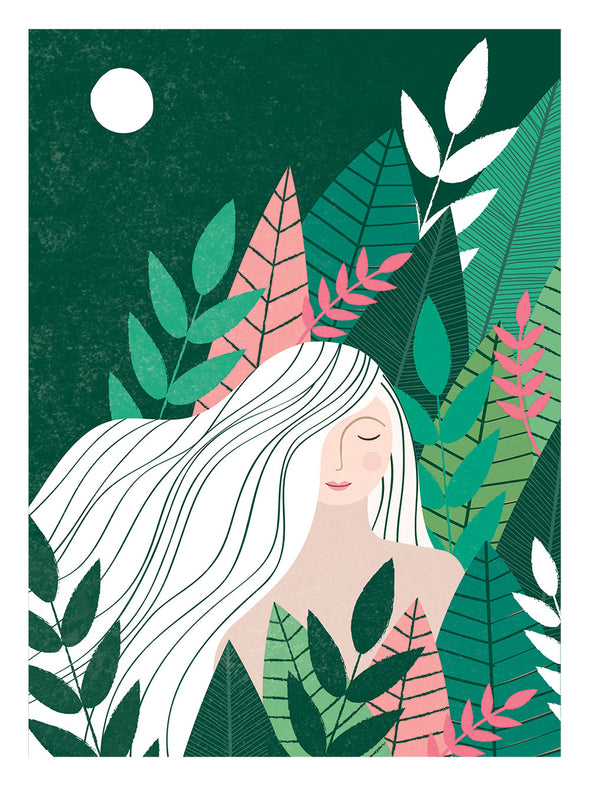Jungle Girl Art Print in Pinks & Greens