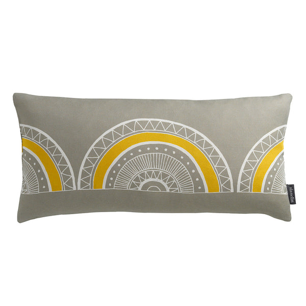 Large Horseshoe Arch Scallop Bolster Cushion in Grey & Yellow