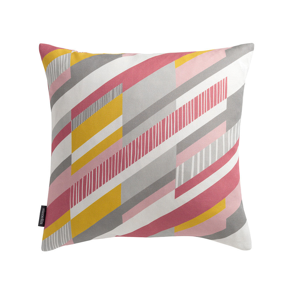 Mosaic Cushion Geometric Diaganal Stripe in Pink & Yellow