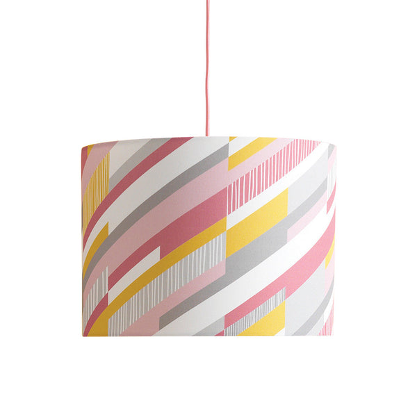 Mosaic Drum Lampshade Geometric Diagonal Stripe in Pink & Yellow