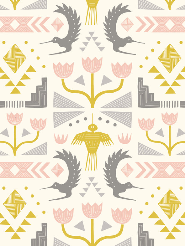 Nazca Fabric – Grey Mustard Blush