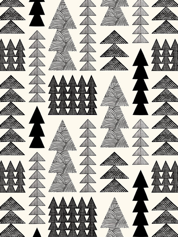 Nordic Forest Wallpaper – Black & White