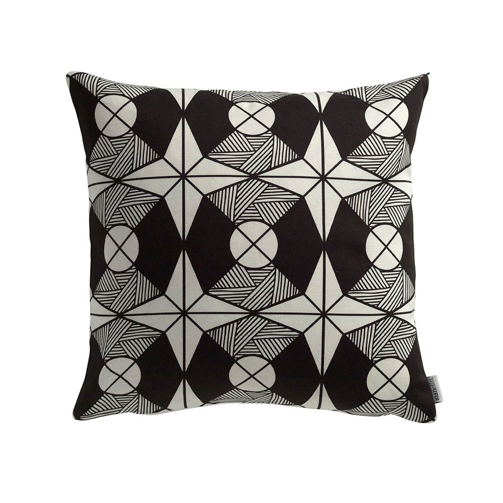 Riad Cushion Geometric Octagon Black & White Pattern