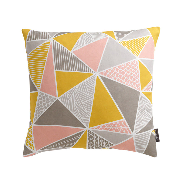 Tress Triangle Geometric Cushion in Pink, Yellow & Grey Pastels