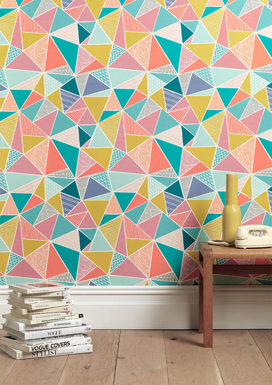 Tress Triangle Geometric Wallpaper in Multi-colour