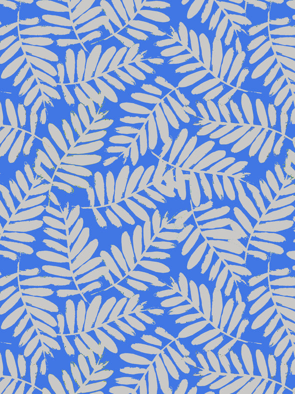 Tropical Leaf Fabric - Azure