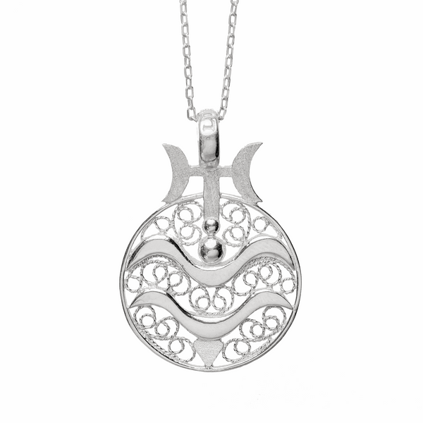 AQUARIUS CHARM - STERLING SILVER - Necklace - LUFT Gümüş Telkari Silver Filigree Jewelry
