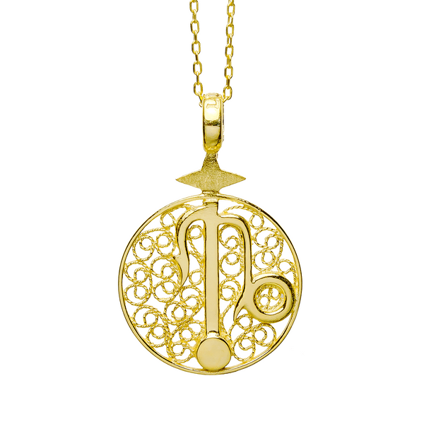 CAPRICORN CHARM - YELLOW GOLD - Necklace - LUFT Gümüş Telkari Silver Filigree Jewelry