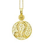 LEO CHARM - YELLOW GOLD - Necklace - LUFT Gümüş Telkari Silver Filigree Jewelry