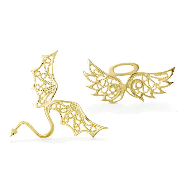 ANGELO & DEVOLO COLLAR PINS - YELLOW GOLD - Pin Set - LUFT Gümüş Telkari Silver Filigree Jewelry