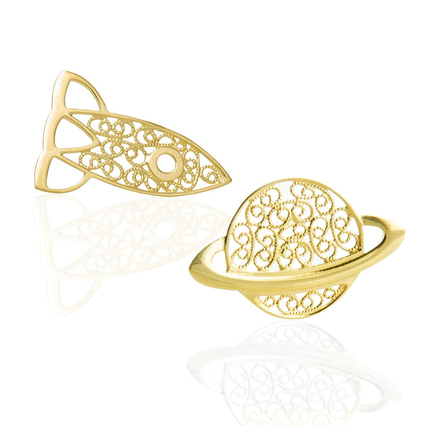 STARGAZER & ANOTHER PLANET PIN SET - YELLOW GOLD - Pin Set - LUFT Gümüş Telkari Silver Filigree Jewelry