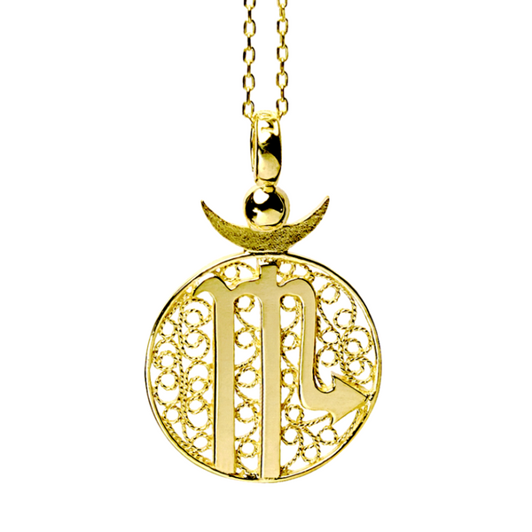 SCORPIO CHARM - YELLOW GOLD - Necklace - LUFT Gümüş Telkari Silver Filigree Jewelry