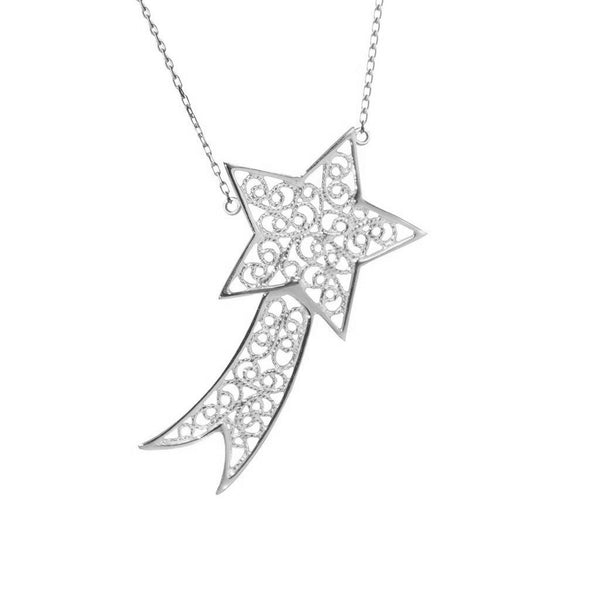 SHOOTING STAR CHARM - STERLING SILVER - Necklace - LUFT Gümüş Telkari Silver Filigree Jewelry
