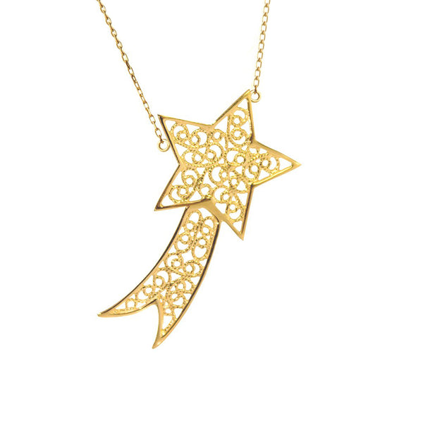 SHOOTING STAR CHARM - YELLOW GOLD - Necklace - LUFT Gümüş Telkari Silver Filigree Jewelry