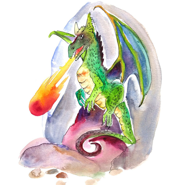 Dragon illustration from fairy tale mystery for kids