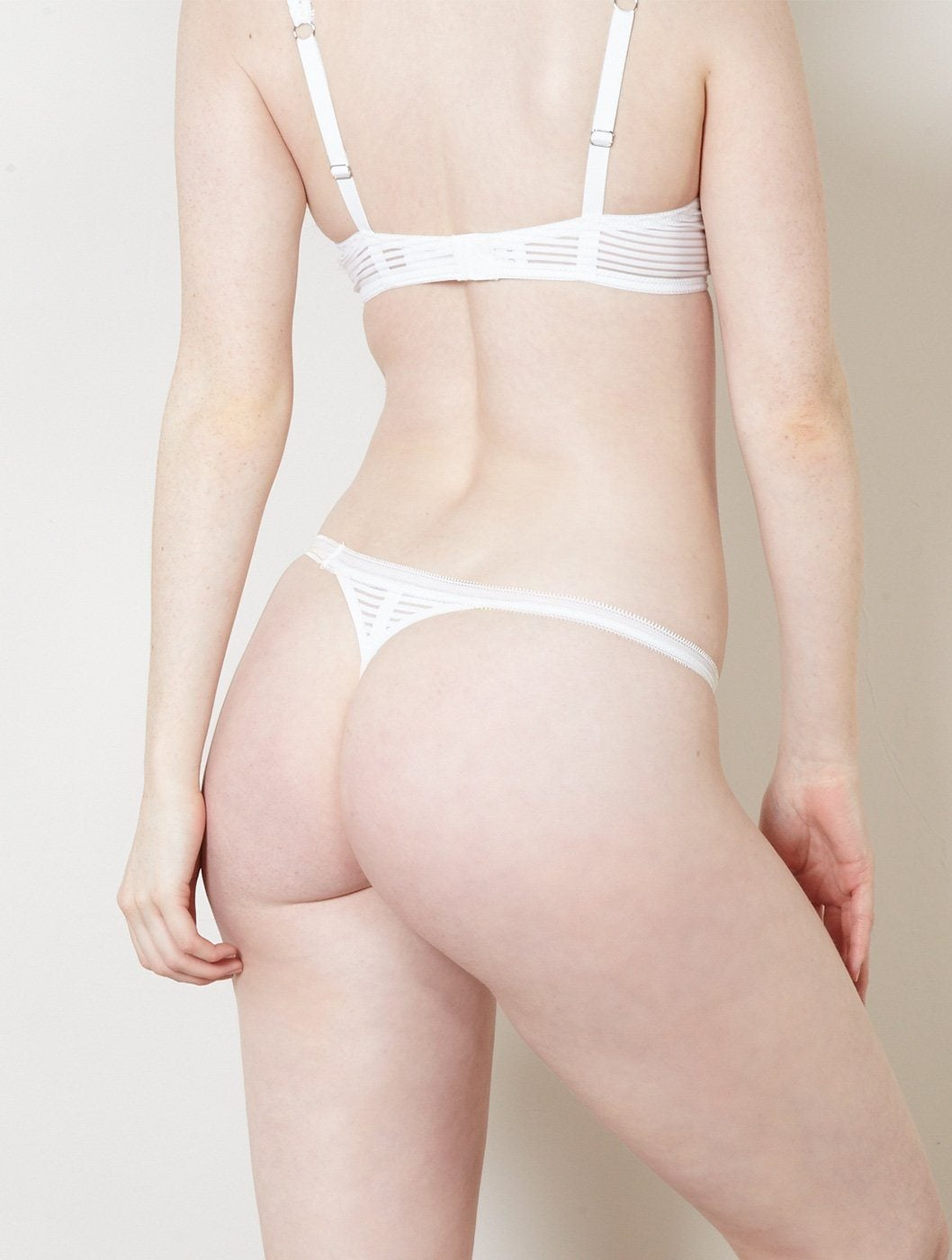 Stripes Thong in White Thongs Beija London