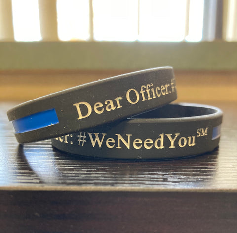 #WeNeedYou Wristbands - Black/Blue for LE Support - Packs of 2