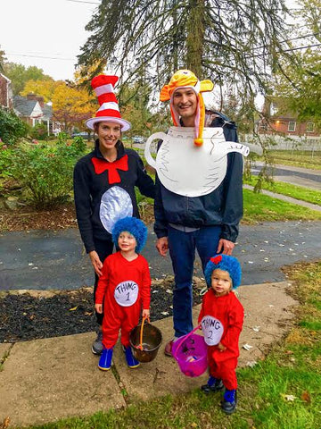 easy DIY family halloween costume cat in the hat