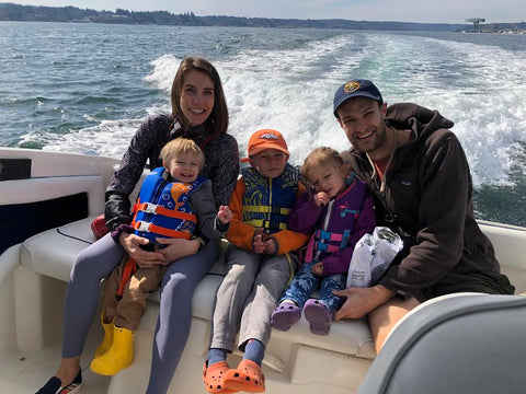 Family on a boat ride.
