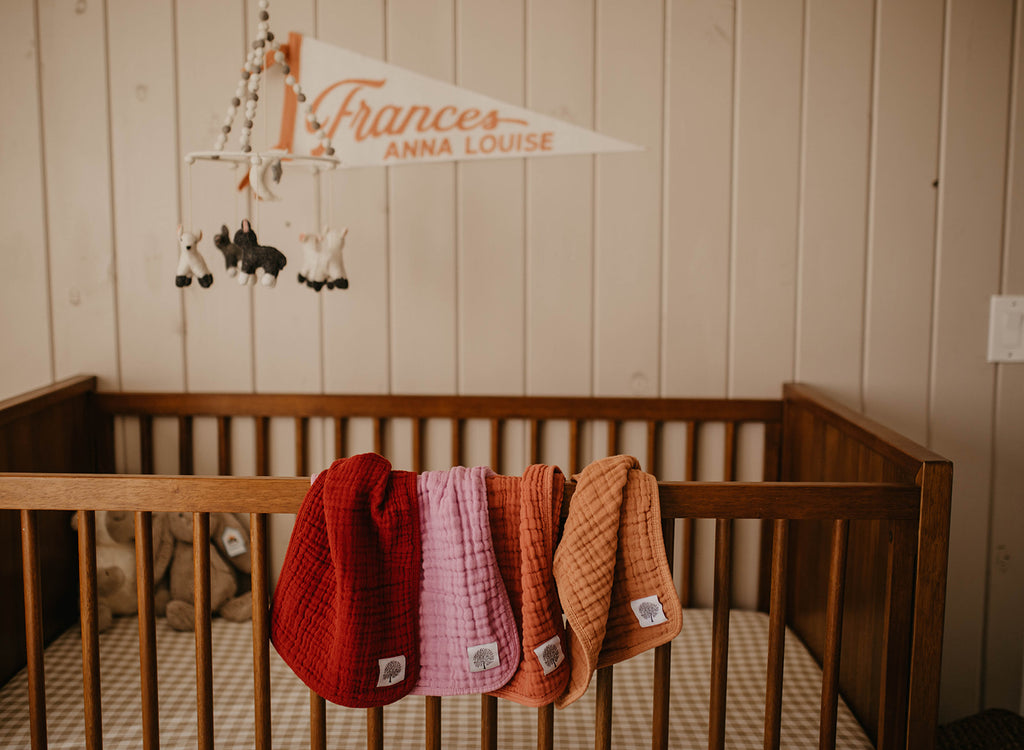 Nursery inspiration; crib with name banner, baby mobile, and burp clothes hanging