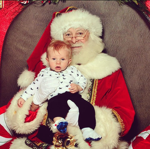 baby's first Christmas on Santa's lap