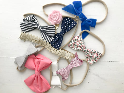 The Essential Bows and Headband Set, 10 Pack or assorted baby headbands
