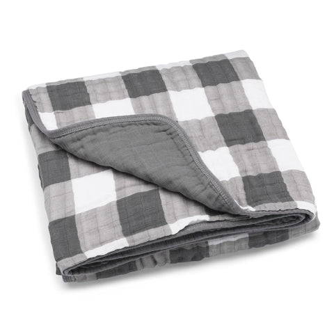 Gray Buffalo Plaid Check Muslin Cotton Quilt, baby blanket for newborns, infants, toddlers and little kids
