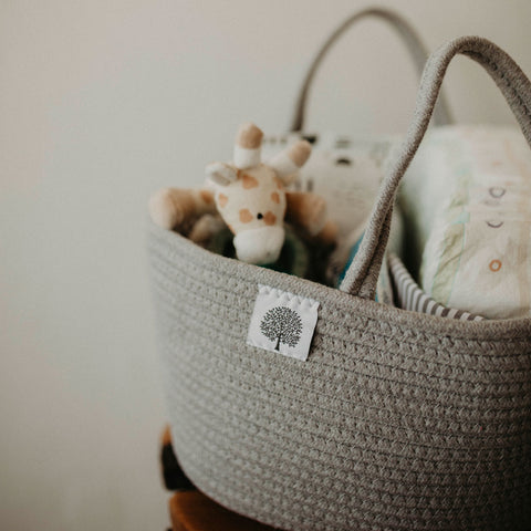 Gray Rope Diaper Caddy