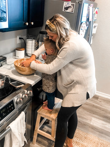 mom baking with toddler easy bread recipe