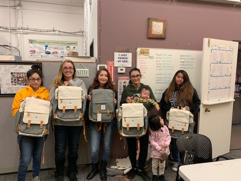 Hope House teen moms with their donated Birch Bags from Parker Baby Co.