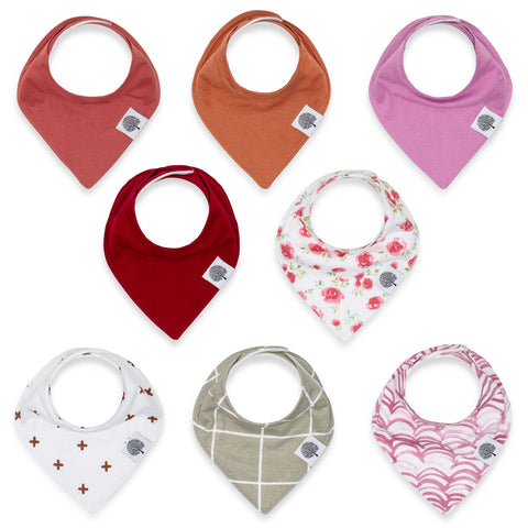 Rose Bandana Drool Bib Set for baby girls