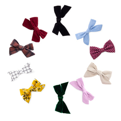 The Anne Bow Clip Set: set of 10 hair bows for baby.