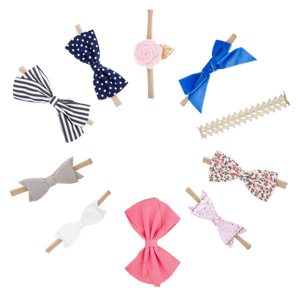 The Essentials Bows and Headbands Set: set of 10 hair bows for baby.