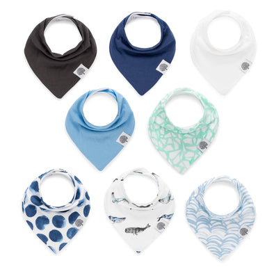 The Arctic Bandana Bib Set: set of 8 bibs for baby.