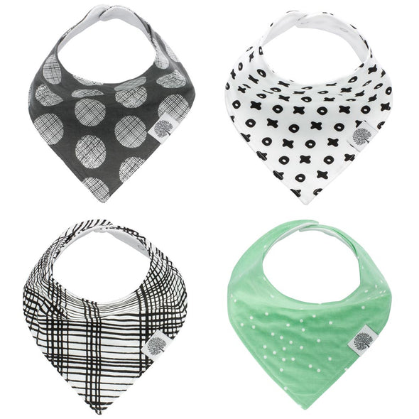 The Denver Bandana Bib Set: set of 4 Bandana Bibs for Baby.