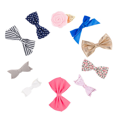 The Essentials Bow Clip Set: set of 10 hair bows for baby.