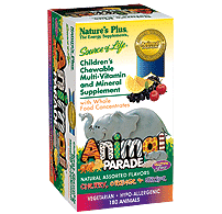 Nature's plus Animal Parade assorted 180 Chewable Tablets