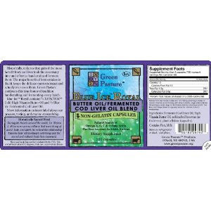 Blue Ice Royal Butter Oil/Fermented Cod Liver Oil Blend - Non-Gelatin 120 CAPSULES
