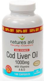 Natures Aid COD LIVER OIL 1000MG 180