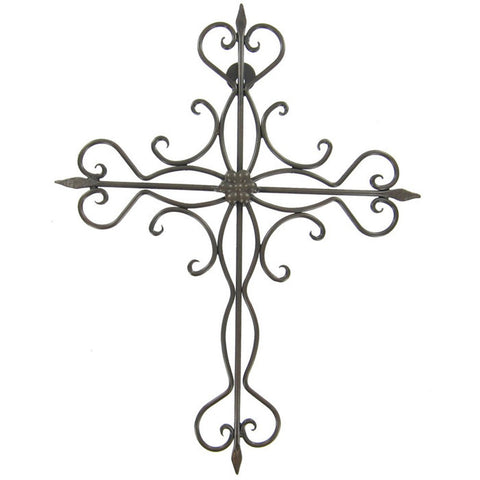 "Decorative Scrolled Iron Wall Cross - 14 1/2"" Tall"