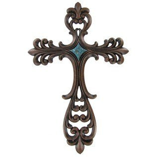 "Brown Wall Cross with Scalloped Edge & Turquoise Center - 19 1/2"" Tall Resin"