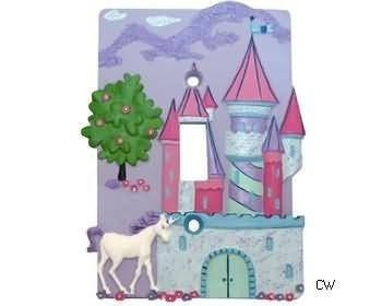 Enchanted Forest Castle - Single Toggle Princess Lightswitch Plate - Girls Room Decor