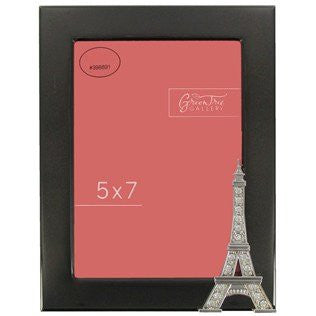 "5"" x 7"" Shiny Black Eiffel Tower Picture Frame - Rhinestone Accents"