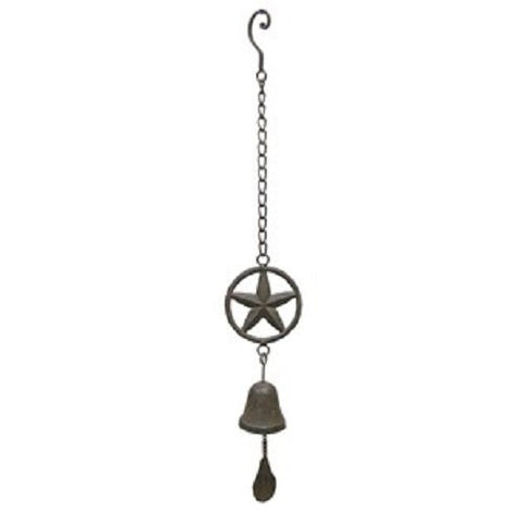Cast Iron Star Hanging Bell - Rustic Western Cowboy Wind Chime