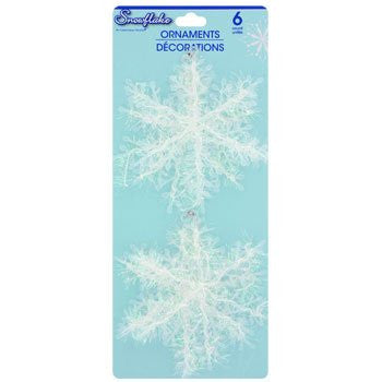 Set of 6 Plastic and Tinsel Snowflake Ornaments, 4""