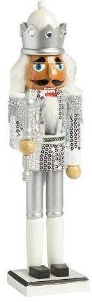 "Nantucket Home Wooden 15"" Silver Sequined Soldier with Crown Christmas Nutcracker Decor"